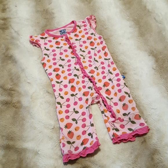 NEW Kickee Pants Long sleeve Orange Pink infant Blush Lotus Shirt 12-18 months
